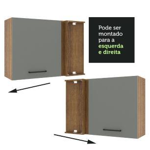 Armário Aéreo de Canto Madesa Agata 1 Porta - Rustic/Cinza