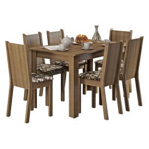 Conjunto Sala de Jantar Madesa Maris Mesa Tampo de Madeira com 6 Cadeiras