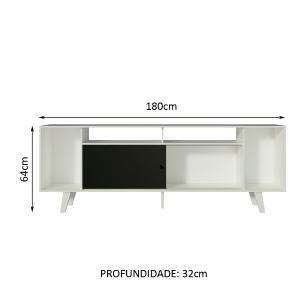 Rack para TV até 65 Polegadas Madesa Cancun com Pés - Branco/Branco/Preto