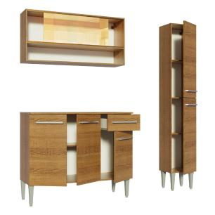 Cozinha Compacta Madesa Emilly Art com Balcão e Armário Vidro Reflex
