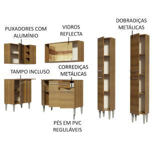 Cozinha Completa de Canto Madesa Emilly Line com Balcão, Armário Vidro Reflex e Paneleiro