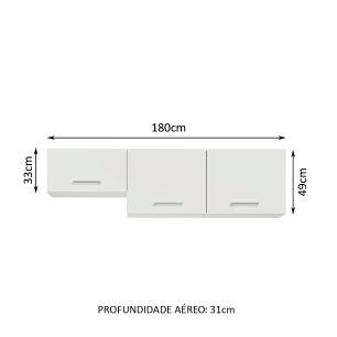 Armário Aéreo Madesa Onix 180 cm 3 Portas - Branco