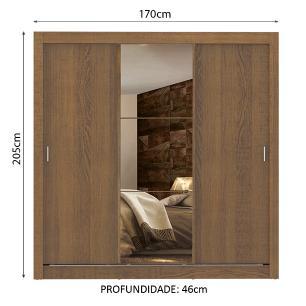 Guarda Roupa Casal Madesa Lyon Plus 3 Portas de Correr com Espelho 4 Gavetas - Rustic