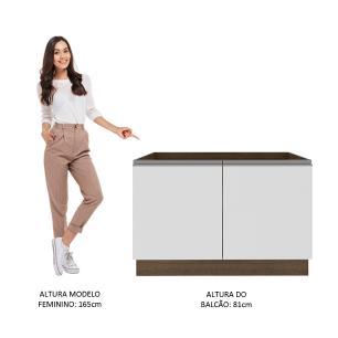 Balcão Gabinete de Pia Madesa Glamy 2 Portas - Rustic/Branco