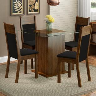 Conjunto Sala de Jantar Madesa Anita Mesa Tampo de Vidro com 4 Cadeiras