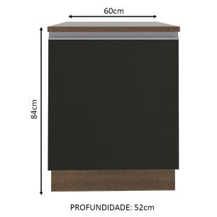 Balcão Madesa Glamy 60 cm 1 Porta - Rustic/Preto