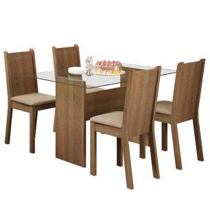 Conjunto Sala de Jantar Madesa Magali Mesa Tampo de Vidro com 4 Cadeiras