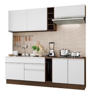 Cozinha Completa Madesa Parma com Armário e Balcão (Sem tampo e Pia) - Rustic/Branco