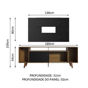 Rack Madesa Cancun e Painel para TV até 58 Polegadas com Pés - Preto/Rustic 7KD8