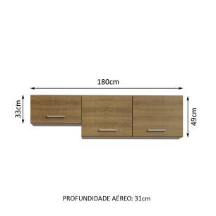 Armário Aéreo Madesa Onix 180 cm 3 Portas - Rustic