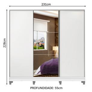 Guarda Roupa Casal 100% MDF Madesa Zurique 3 Portas de Correr com Espelho com Pés - Branco