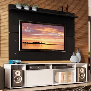 Rack Madesa Cancun e Painel para TV até 65 Polegadas - Branco/Preto
