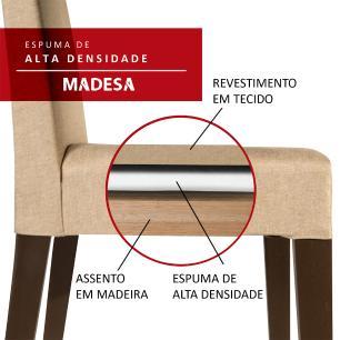 Conjunto Sala de Jantar Madesa Monique Mesa Tampo de Madeira com 6 Cadeiras