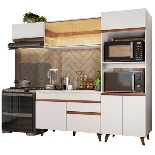 Cozinha Completa Madesa Reims XA260001 com Armário e Balcão - Branco