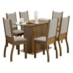 Conjunto Sala de Jantar Madesa Amara Mesa Tampo de Vidro com 6 Cadeiras
