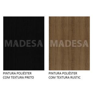 Rack Madesa Cairo e Painel para TV até 65 Polegadas com Pés de Madeira - Rustic/Preto