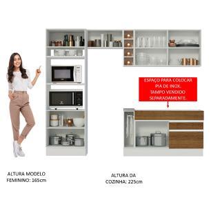 Cozinha Completa Madesa Jade com Armário e Balcão (Sem Tampo e Pia) - Branco/Rustic/Branco