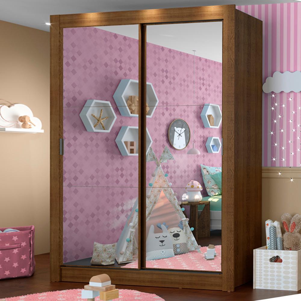 Guarda-Roupa Infantil Madesa Enzo 2 Portas de Correr de Espelho