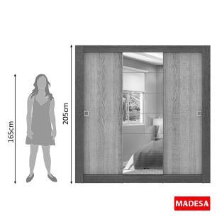 Guarda-Roupa Casal Madesa Campos 3 Portas de Correr com Espelho