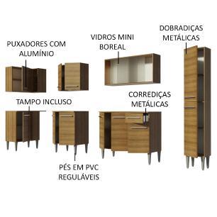 Cozinha Completa de Canto Madesa Emilly Space com Armário Vidro, Balcão e Paneleiro