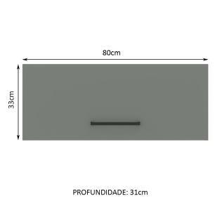Armário Aéreo Madesa Agata 80 cm 1 Porta Basculante - Rustic/Cinza