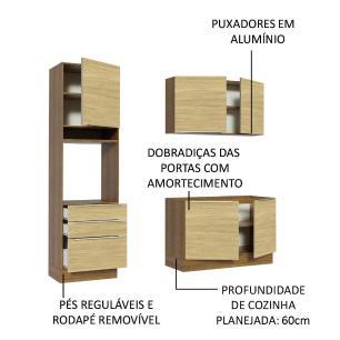 Cozinha Compacta Madesa Lux com Armário e Balcão 5 Portas 3 Gavetas - Rustic/Carvalho