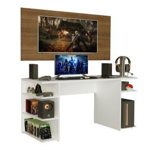 Mesa Gamer Madesa 9409 e Painel para TV até 50 Polegadas - Branco/Rustic