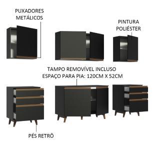 Cozinha Completa Madesa Reims 240002 com Armário e Balcão - Preto