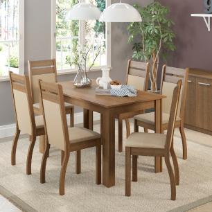 Conjunto Sala de Jantar Madesa Jessy Mesa Tampo de Madeira com 6 Cadeiras