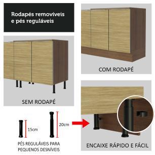 Balcão de Pia Madesa Lux 120 cm 2 Portas - Rustic/Carvalho