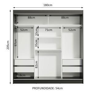 Guarda-Roupa Casal Madesa Reno 3 Portas de Correr com Espelhos - Preto