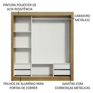 Guarda-Roupa Casal Madesa Lyon Plus 3 Portas de Correr com Espelhos 4 Gavetas - Rustic/Carvalho