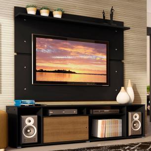 Rack Madesa Cancun e Painel para TV até 65 Polegadas - Preto/Preto/Rustic