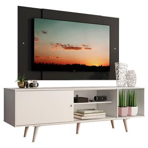 Rack Madesa Dubai com Pés e Painel para TV até 58 Polegadas - Branco/Preto 0977