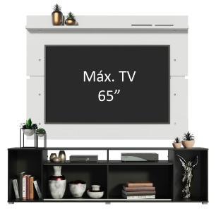 Rack Madesa Cancun e Painel para TV até 65 Polegadas - Preto/Branco/Branco