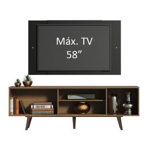 Rack Madesa Dubai com Pés e Painel para TV até 58 Polegadas - Rustic/Preto 5ZD8