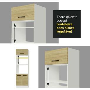 Torre Quente Madesa Agata 70 cm 3 Portas - Branco/Carvalho