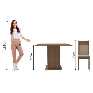 Conjunto Sala de Jantar Madesa Drica Mesa Tampo de Madeira com 2 Cadeiras - Rustic/Crema/Pérola