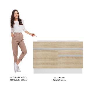 Balcão Gabinete de Pia Madesa Glamy 1 Porta e 2 Gavetas - Branco/Saara