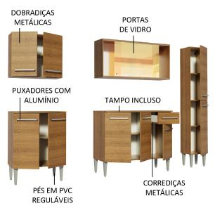 Cozinha Completa Madesa Emilly West com Balcão, Armário Vidro Reflex e Paneleiro