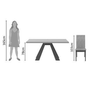 Conjunto Sala de Jantar Madesa Vânia Mesa Tampo de Madeira com 6 Cadeiras