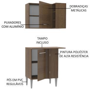 Kit de Canto Reto Madesa Emilly 2 Portas com Armário Aéreo, Adega e Balcão