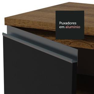 Balcão Gabinete de Pia Madesa Glamy 120 cm 1 Porta 2 Gavetas - Rustic/Preto