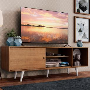 Rack Madesa Dubai para TV até 65 Polegadas com Pés - Rustic/Branco