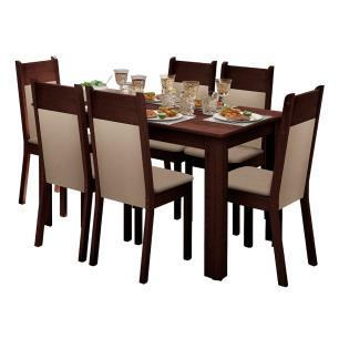 Conjunto Sala de Jantar Madesa Honduras Mesa Tampo de Madeira com 6 Cadeiras