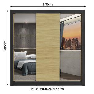Guarda-Roupa Casal Madesa Mônaco 3 Portas de Correr com Espelhos - Preto/Carvalho