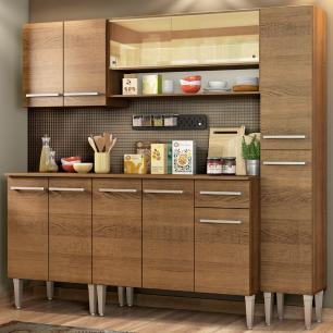 Cozinha Completa Madesa Emilly Sky com Armário Vidro Reflex e Balcão