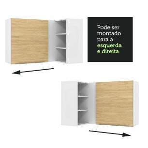 Armário Aéreo de Canto com Adega Acoplada Madesa Lux 1 Porta - Branco/Carvalho