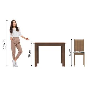 Conjunto Sala de Jantar Madesa Rute Mesa Tampo de Madeira com 4 Cadeiras - Rustic/Hibiscos