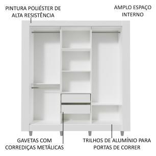 Guarda-Roupa Casal Madesa Style 3 Portas de Correr de Espelho